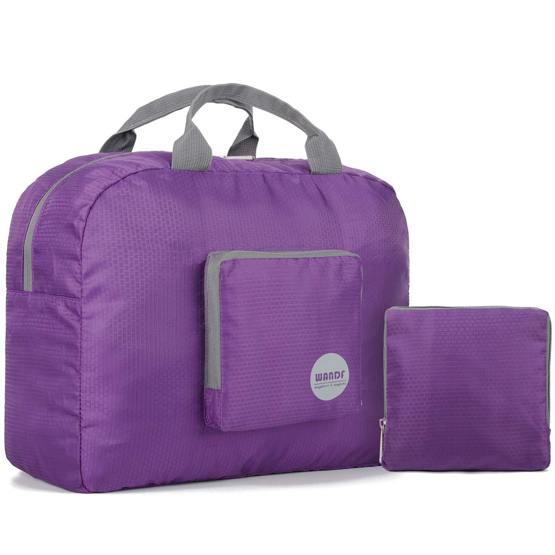 Wandf Foldable Travel Duffel Bag Luggage Sports Gym Water Resistant Nylon (Plum 16'')