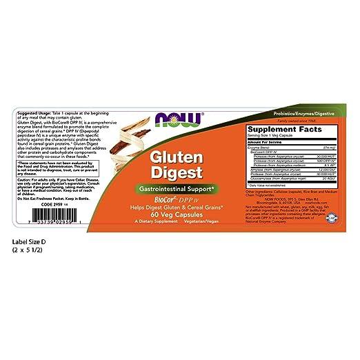 NOW Supplements, Gluten Digest with BioCore DPP IV, 60 Veg Capsules