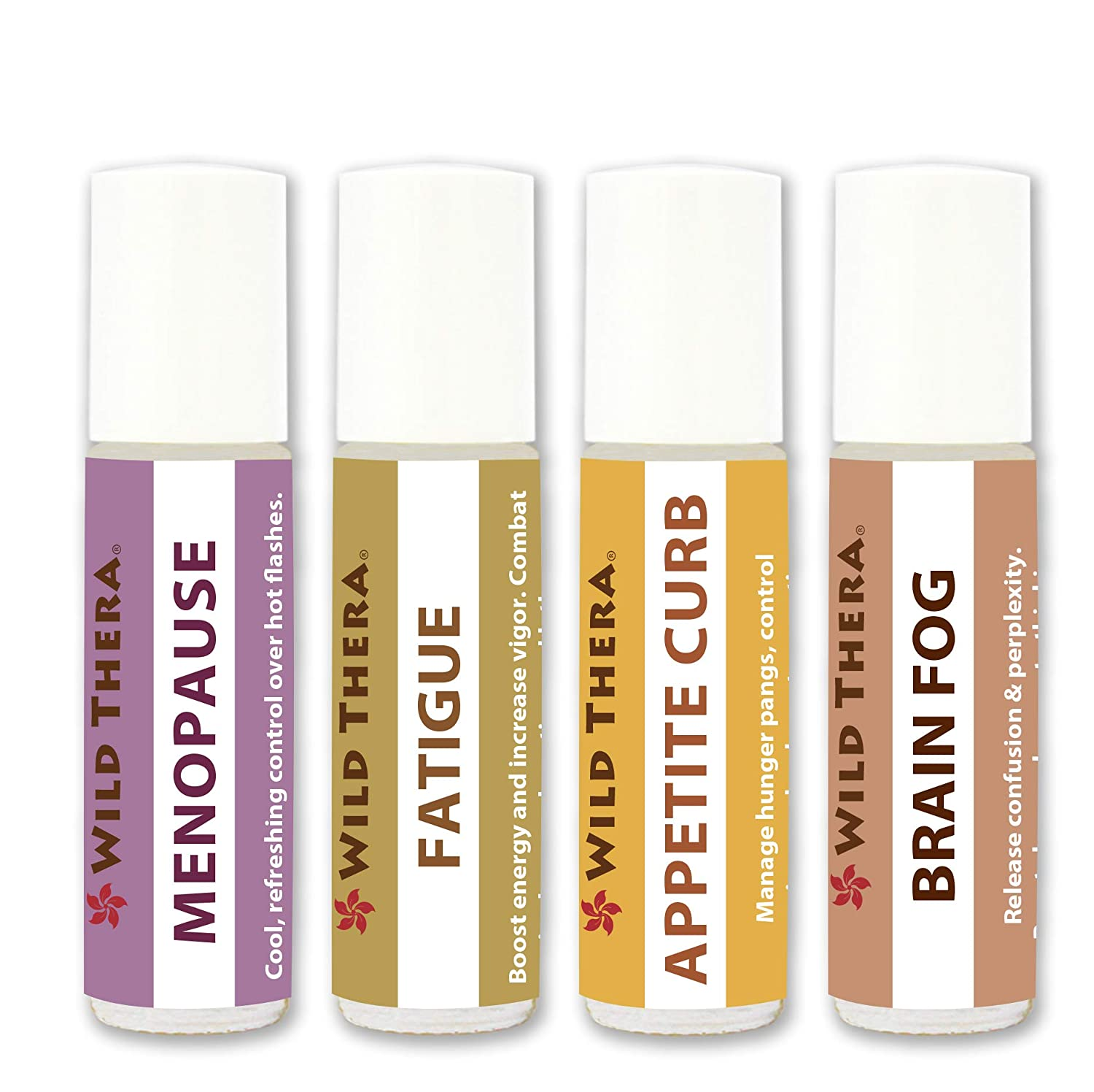 Wild Thera. Menopause Support Set of 4 x 10ml. Pure Pre-Diluted Certified Aromatherapy Oils for Food Cravings, Hot Flashes, Sweats, Chills, Mental Clarity, Fatigue, Burnout and Appetite Control.