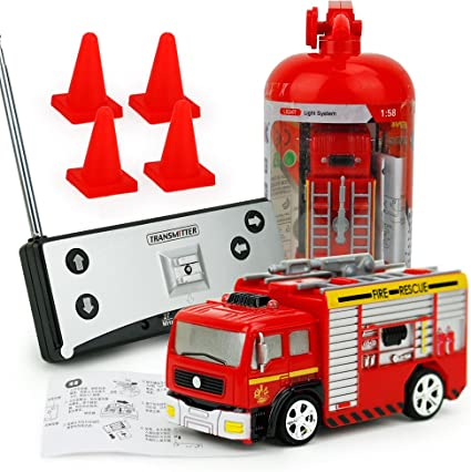 Remote Control Car Fire Engine Truck Rescue 1:58 RC Car Toys for Kids Gifts