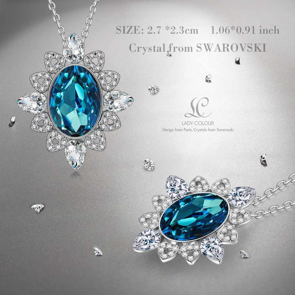 54942da2b Amazon.com: LADY COLOUR Necklace Pendant for Women Swarovski Crystal Jewelry  for Her White Gold Plated Vintage Jewelry Diana Necklace Christmas Birthday  for ...