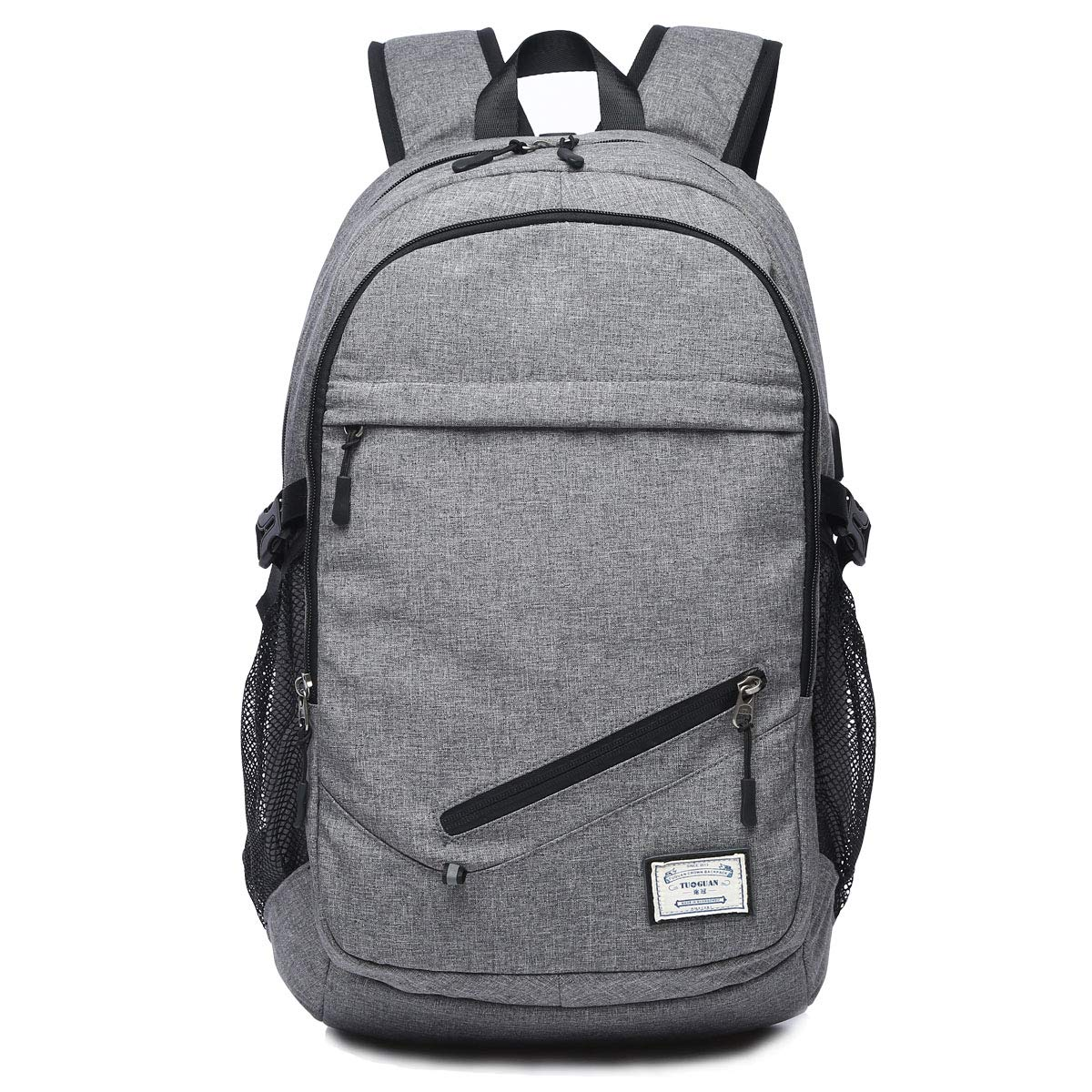 Business Backpack for Boys or Men, Laptop Backpack with USB Charging Ports, Canvas Waterproof Backpack for Sports, Grey Backpack for Students at College or ...