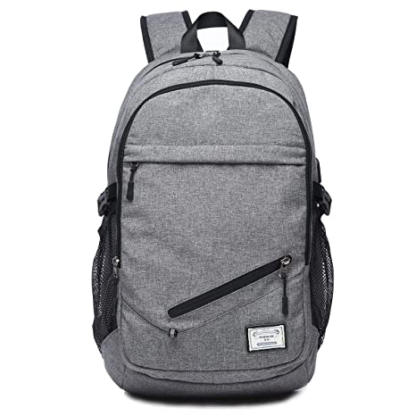 Business Backpack for Boys or Men, Laptop Backpack with USB Charging Ports, Canvas Waterproof