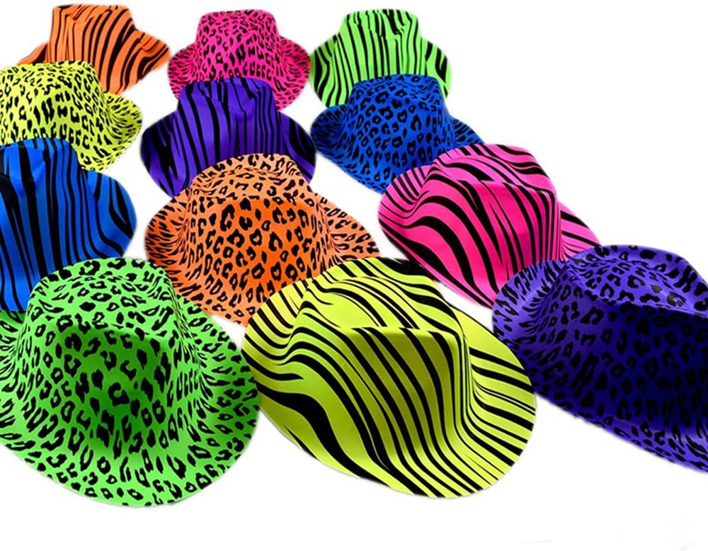 Novelty Place Neon Animal Print Plastic Party Hats, Fedora with Gangster Mafia Style, UV Blacklight Glow Party Stars Rave Hats for Kids and Teens in Birthday, Concerts, Music Party(Pack of 12): Toys & Games