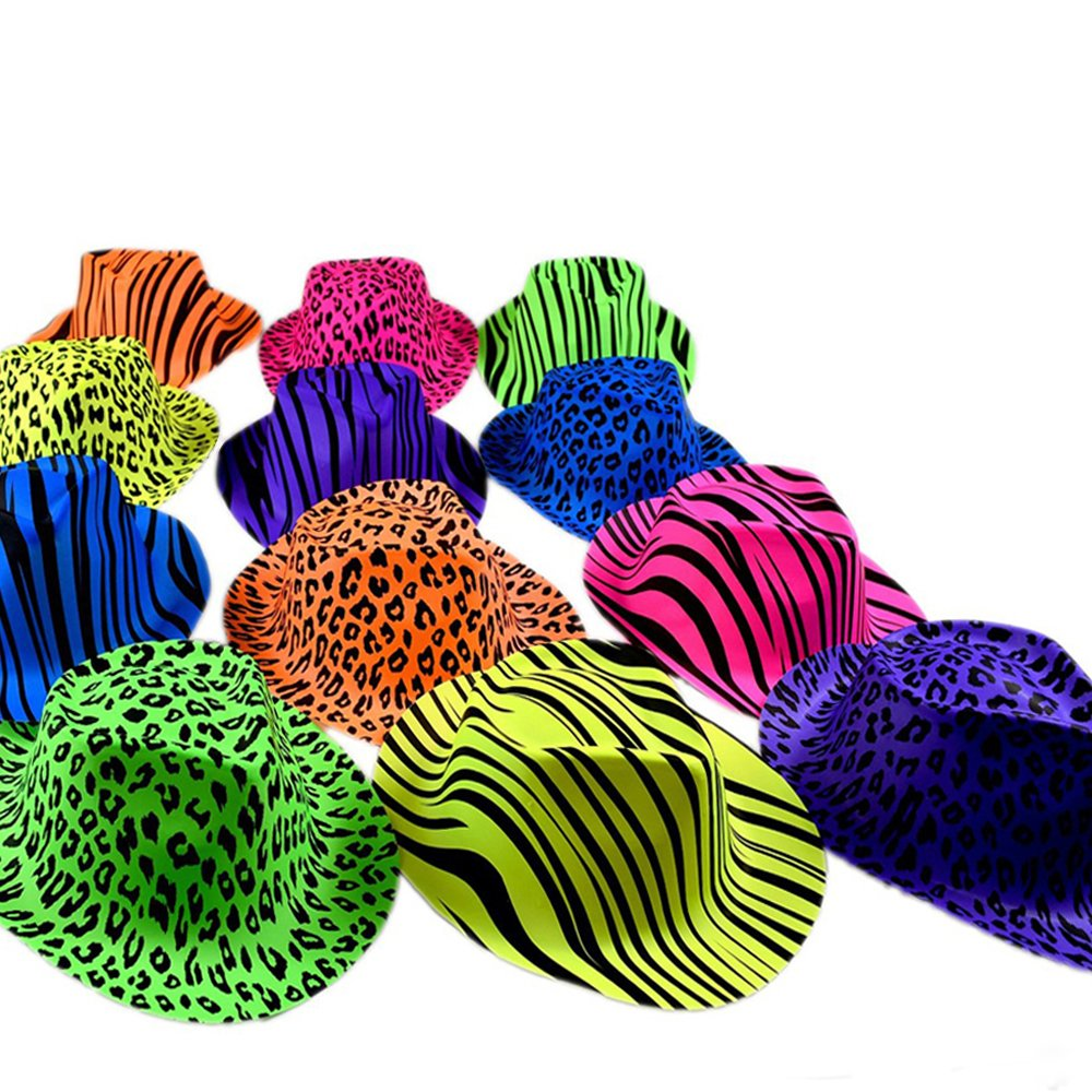 Novelty Place Neon Animal Print Plastic Party Hats, Fedora with Gangster Mafia Style, UV Blacklight Glow Party Stars Rave Hats for Kids and Teens in Birthday, Concerts, Music Party(Pack of 24) by Novelty Place
