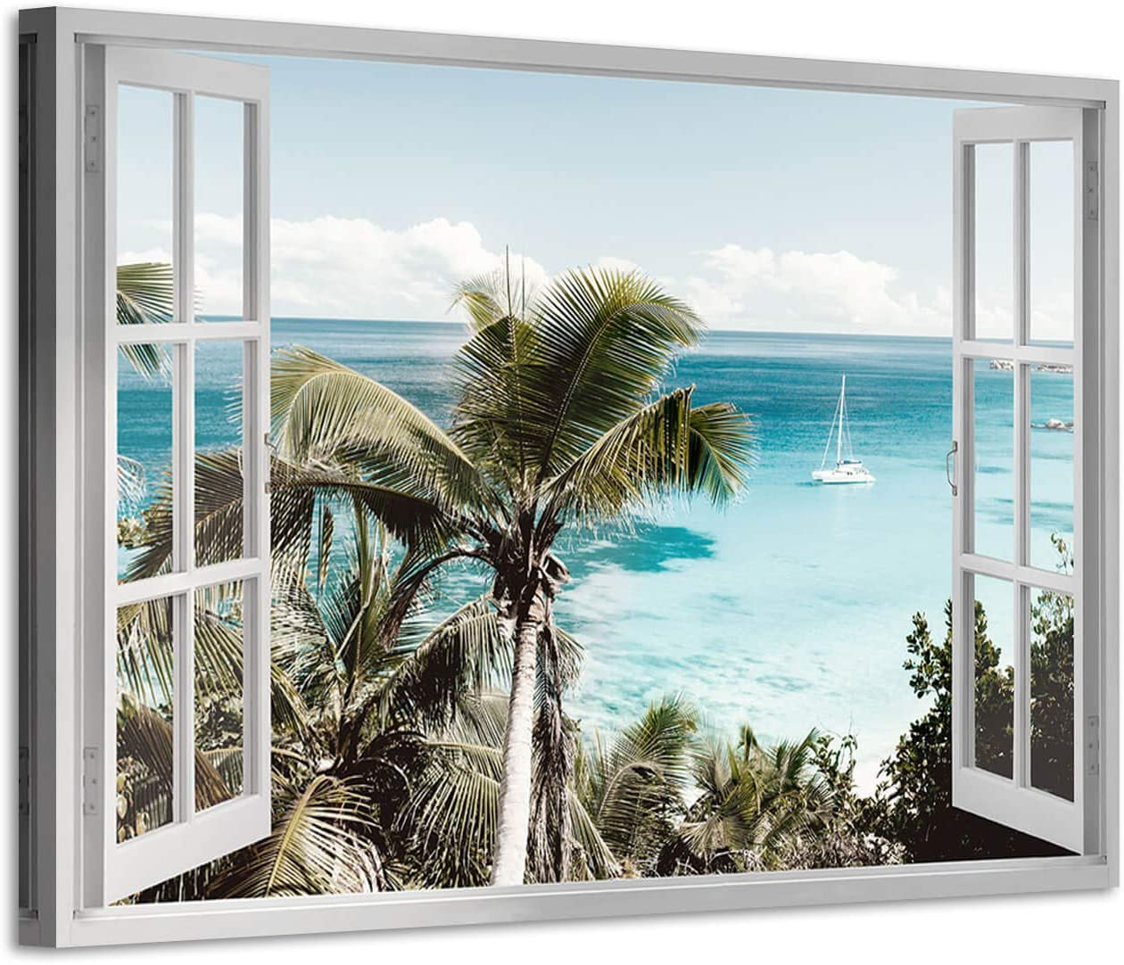 Wall Canvas Art Blue Sky Beach Coconut Tree Out of Window Art Print on Canvas