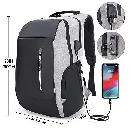 Mochila antirrobo mochila Daypack 35L con conector de auriculares con interfaz de carga USB y candado con contraseña mochila al aire libre para nego