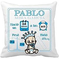Kembilove Cojín Natalicio Recién Nacido - Cojines Natalicios Personalizados con los Datos del Bebe - Regalo original…