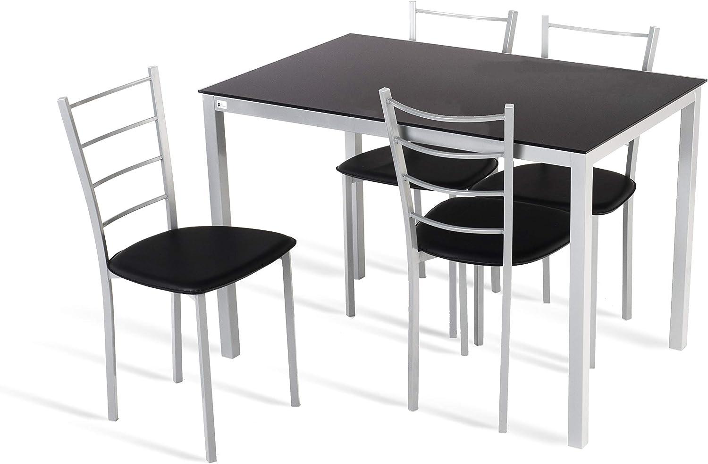 Portus Conjunto Tulipa - 1 Mesa Fija 110x70 + 4 sillas (Negro ...