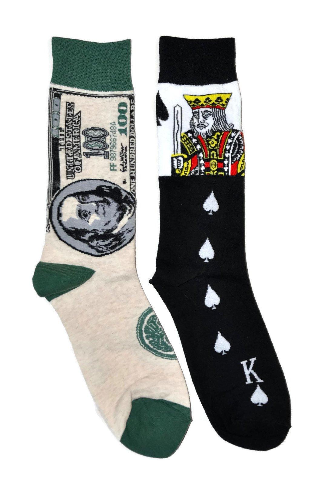 Mens Novelty Trouser Socks 2 Pair Bundle FineFit Themed Pattern (Cards & Money)