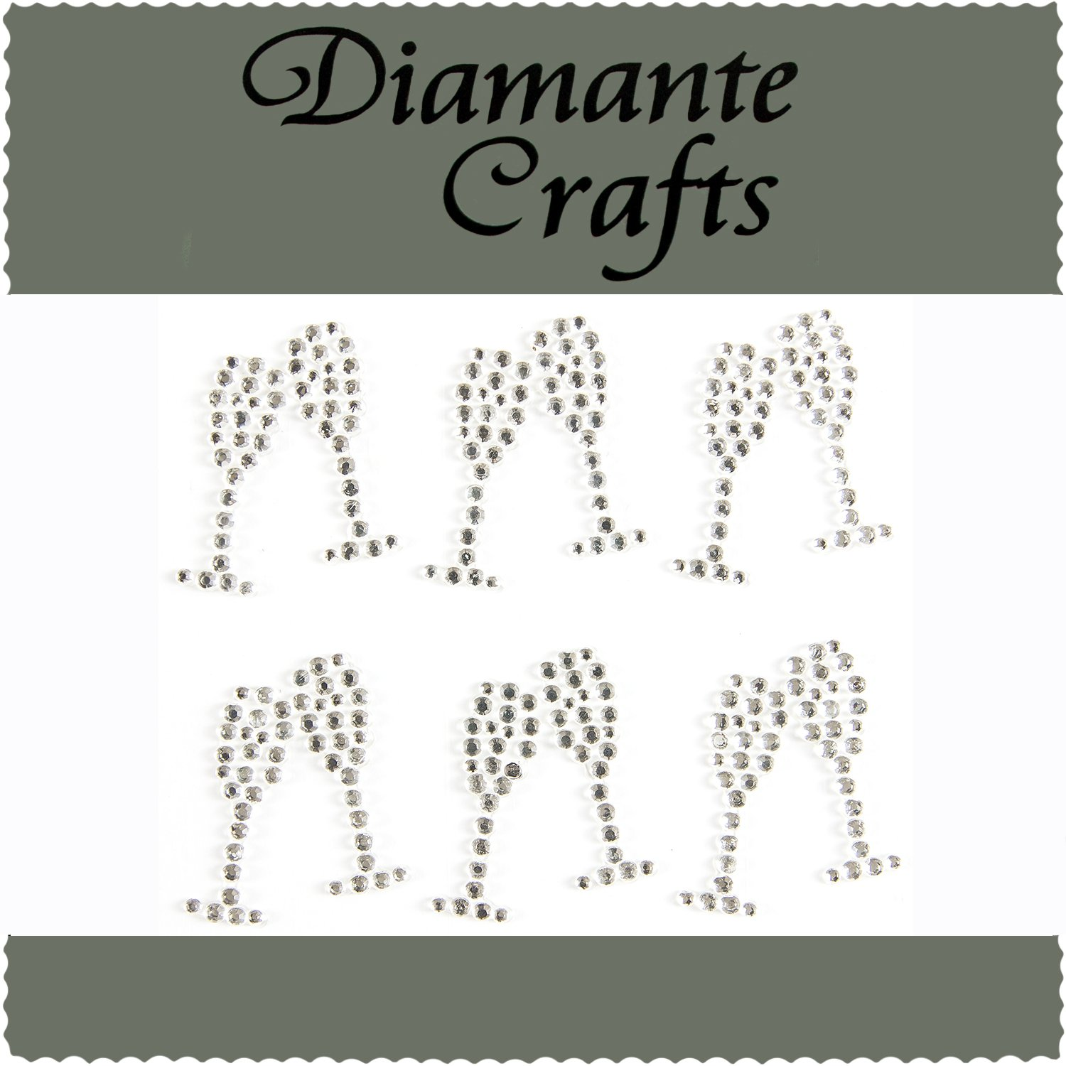 12 Clear Champagne Glasses Diamante Rhinestone Gems Embellishments - created exclusively for Diamante Crafts