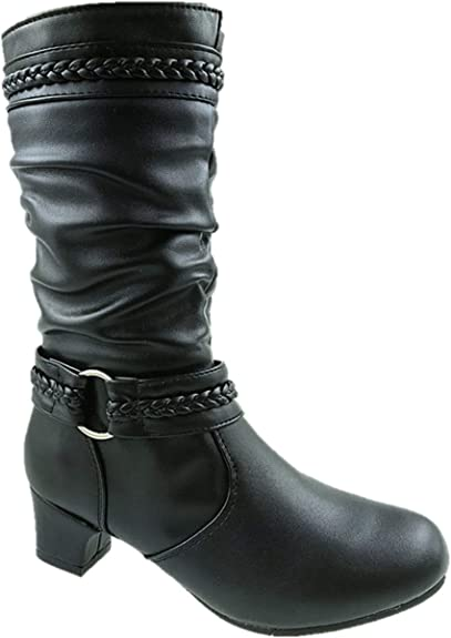 GIRLS FAUX LEATHER MID CALF LOW HEEL