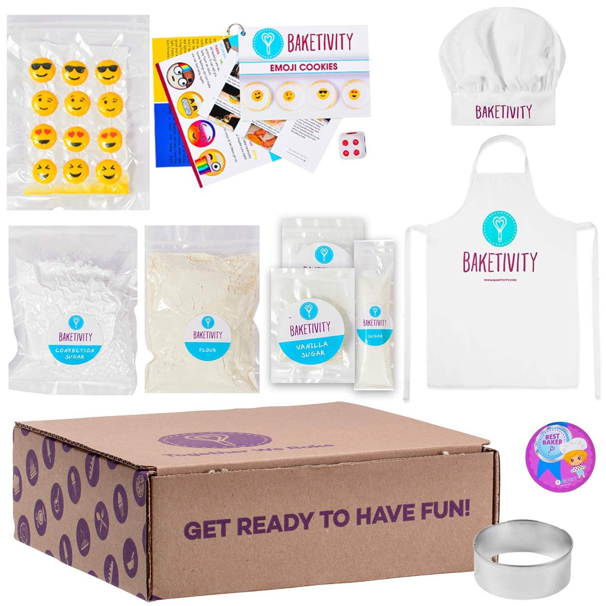 BAKETIVITY Kids Baking DIY Activity Kit - Bake Delicious Emoji Cookies With Pre-Measured Ingredients - Best Gift Idea For Boys And Girls Ages 6-12 - Includes FREE Hat and Apron