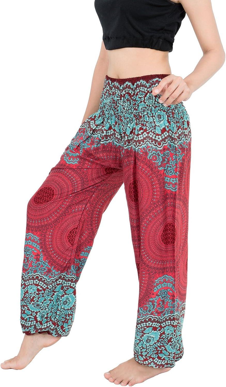 BANJAMATH Hippy con Texto harén Smocked Women's Yoga Cintura diseño Floral con diseño de Flores para Coser Pantalones Largos Anchos pantalón de
