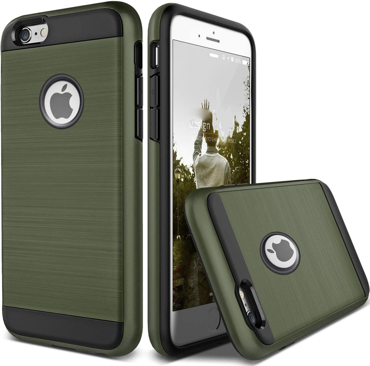 for Apple iPhone 12 11 X 8 7 6S 6 iphone8 Plus Case Shockproof Protective Armor Cover (Army Green, iPhone 8 Plus)