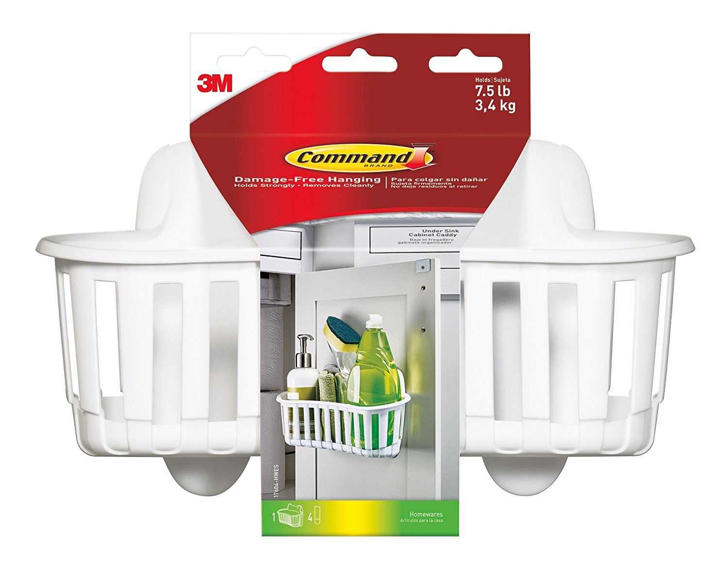 Command Under Sink Cabinet Caddy, Large, 1-Caddy (17604-HWES) (Pack of 3)