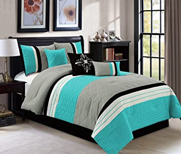modern 7 piece queen bedding aqua blue black grey quilted stripe comforter set with