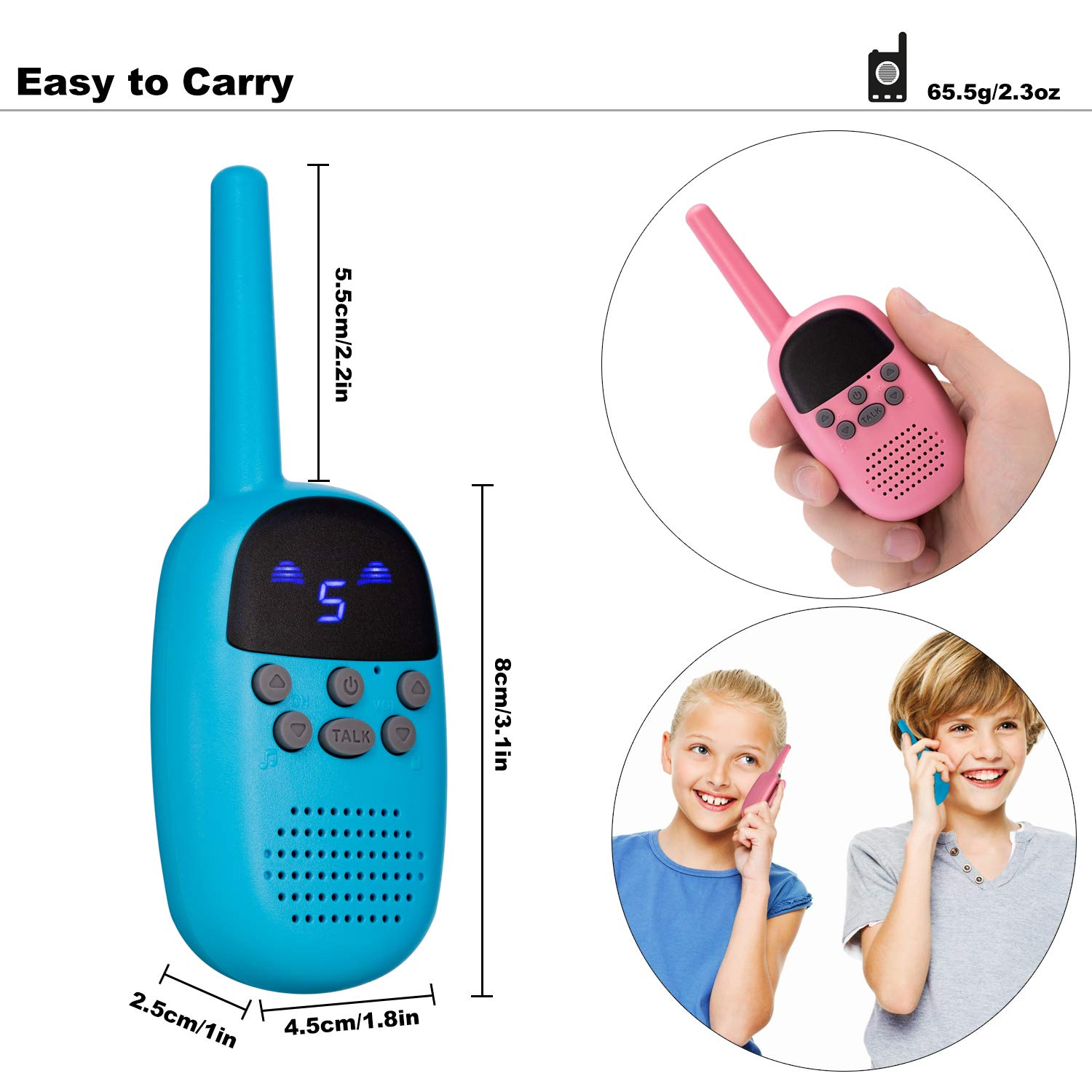 omzer Toy Walkie Talkies for Kids with 9 Channels FRS/GMRS Handheld Interphone Long Range for Adventures, Camping, Hiking, Great Creative Gifts for 4-7 Years Old Girls Boys(Pink/Blue, 1 Pair) by omzer (Image #3)