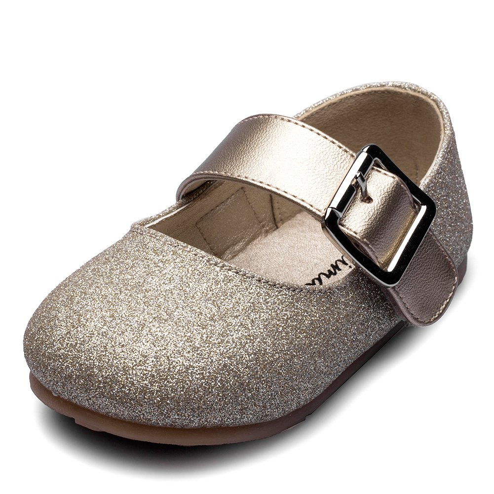 Chiximaxu Maxu Little Girl's Adorable Buckle Ballerina Flat,Gold,Toddler,5.5M