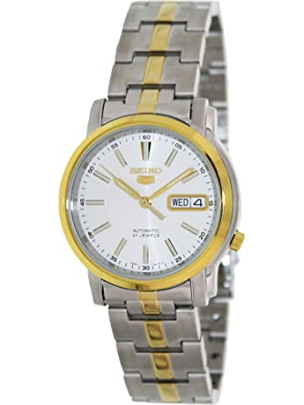Seiko 5 #SNKL84 Mens Two Tone Stainless Steel White Dial Automatic Watch by Seiko Watches