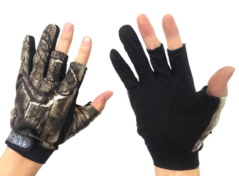 Angelhandschuhe / Jagdhandschuhe mit 3-Finger-Cut, Tarnfarbe, 1 Paar thkfish