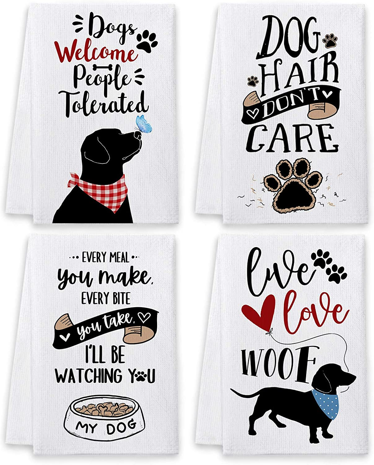 Bonsai Tree Dog Dish Towels and Dish Cloths, Dog Lover Owners Mom Gifts Funny Kitchen Hand Towels Sets of 4, Dogs Welcome People Tolerated Sayings Tea Towel Housewarming Decor for New Home Bathroom