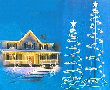 Amazon.com: Set of 2 Multi-Color LED Lighted Outdoor Spiral ...:Set of 2 Multi-Color LED Lighted Outdoor Spiral Christmas Trees Yard Art 3',Lighting