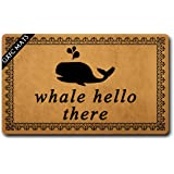 GXFC Welcome Mat with Rubber Back Whale Hello There Doormat Whalecum Welcome Mats Funny Doormat for Entrance Way…
