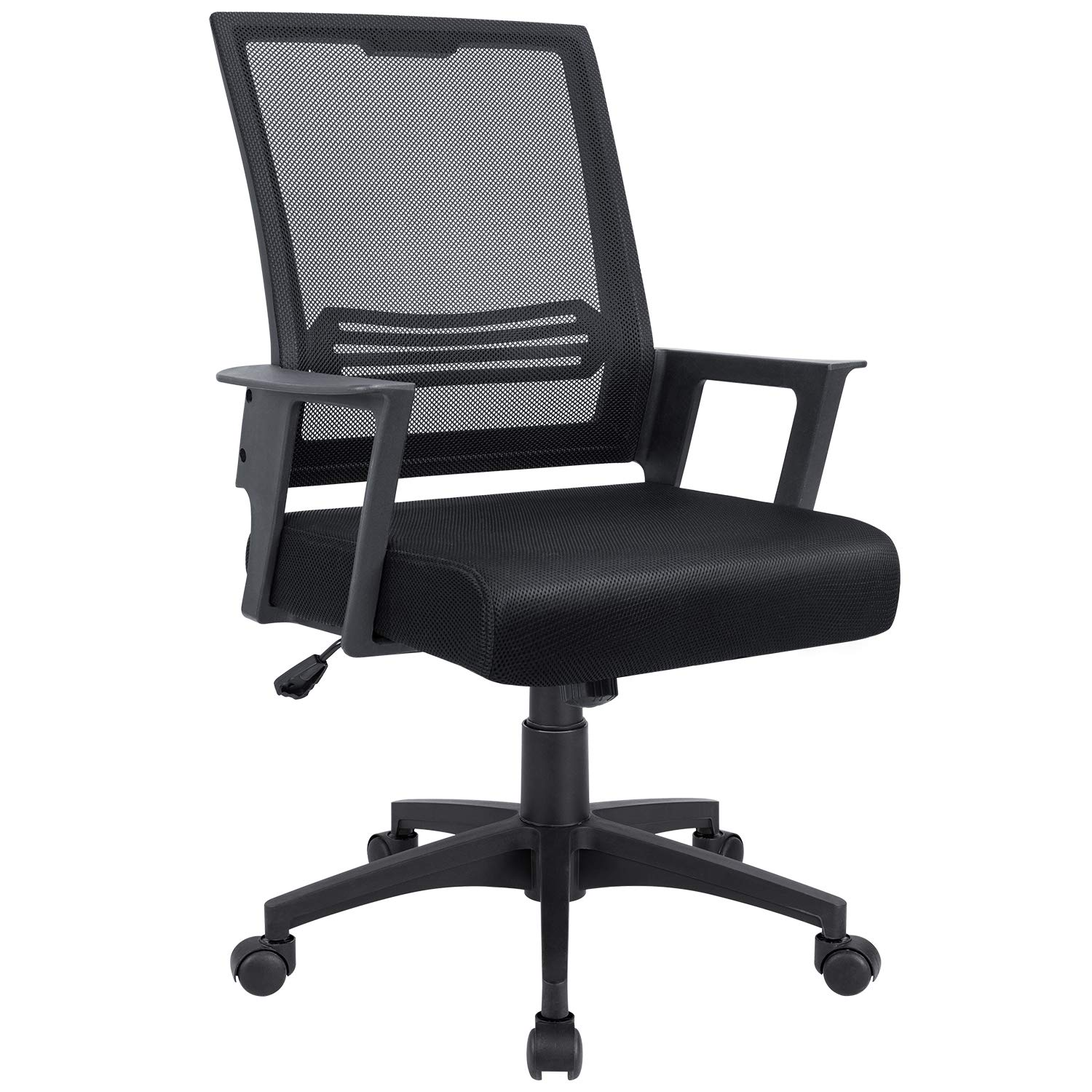 JUMMICO Office Chair Mid Back Swivel Desk Chair Ergonomic Executive Adjustable Mesh Chair with Armrest and Lumbar Support (Black)