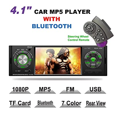 LSLYA 4.1inch HD Single DIN Bluetooth Car Stereo Audio Radio FM Receiver 1080P Video Player MP3/USB/SD/TF/AUX/FM: Car Electronics