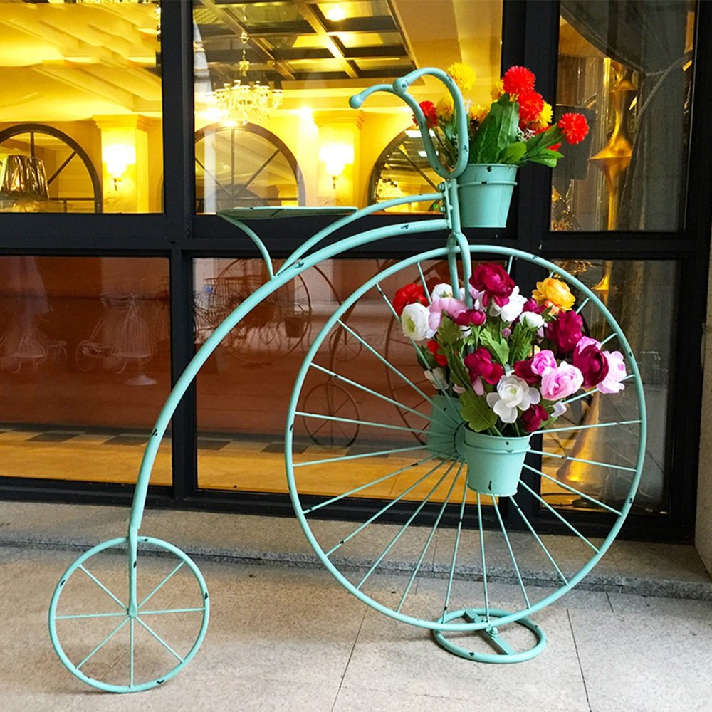 LJHA huajia Iron Flower Rack Bicycle Flower Racks Window Frame Crafts Decoration Decoration Flower Pot Rack Living Room Interior Balcony Flower Rack (3 Colors Optional) (110 101cm) by GYH Flower stand