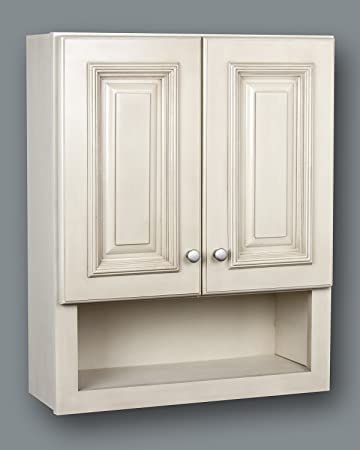 bathroom wall cabinets white. White Cream 21x26 Bathroom Wall Cabinet with shelf Amazon com