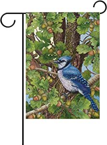 Wamika Blue Jay Birds on Oak Tree Spring Garden Flag 12 x 18 Double Sided Flags Cardinal Hummingbird Flowers Welcome Spring Summer Yard Outdoor House Flag Banner Home Decorations