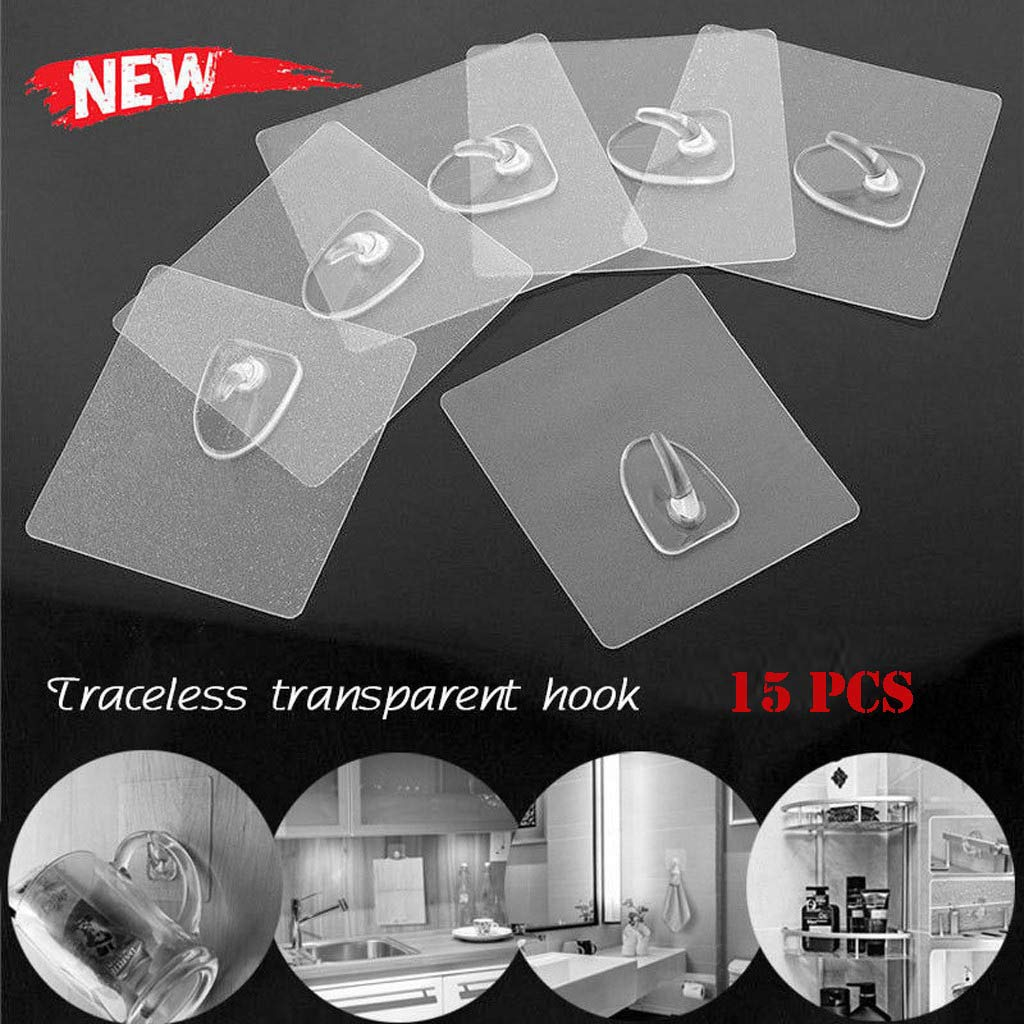 Samoii Anti-Skid Hooks Reusable Plastic Transparent Traceless Wall Hanging Hooks for Kitchen Bathroom Door Back Storage Organizer 15PC/Set