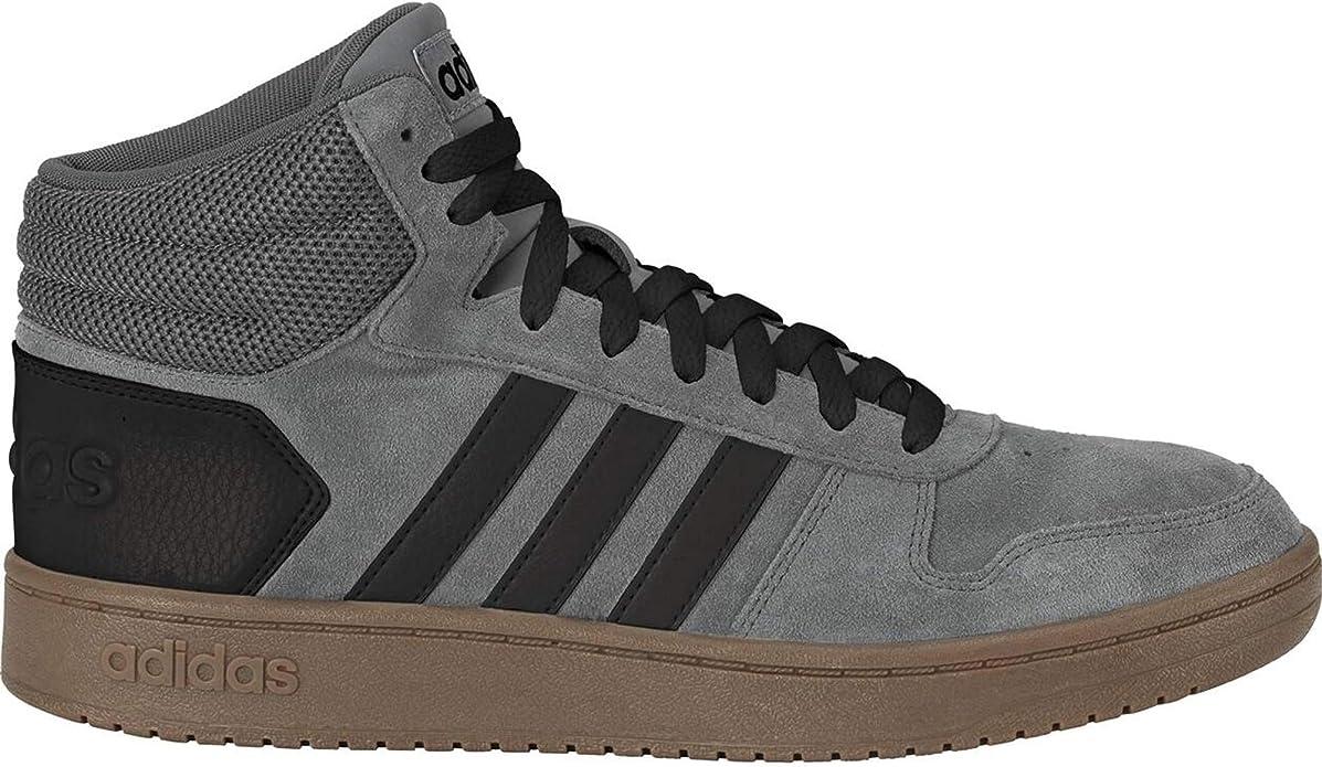 adidas Hoops 2.0 Mid Sneakers Basketball Schuhe Herren Grau/Schwarz/Braun