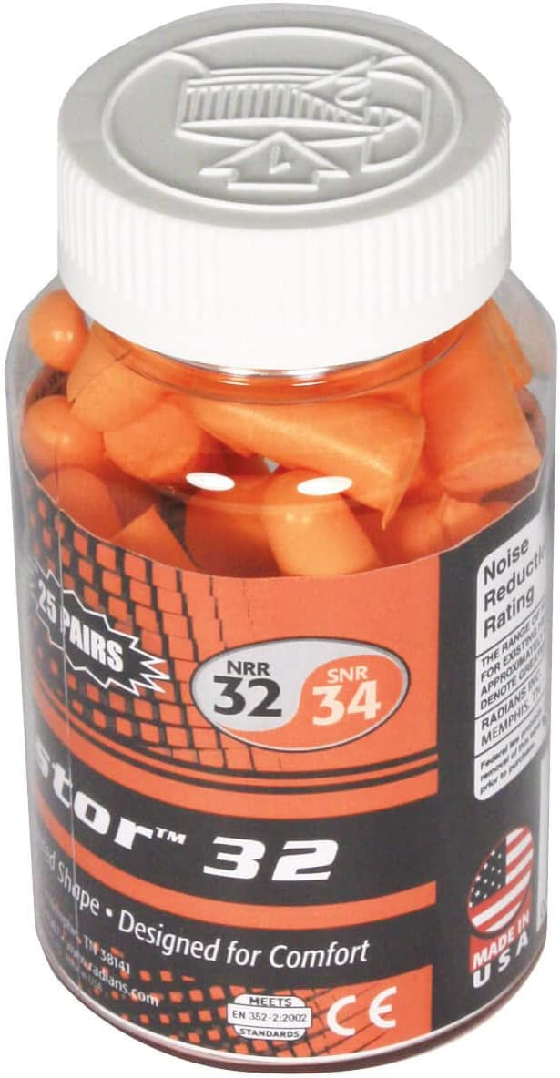 Radians 25 Pair Disposable Uncorded Foam Earplugs: Sports & Outdoors