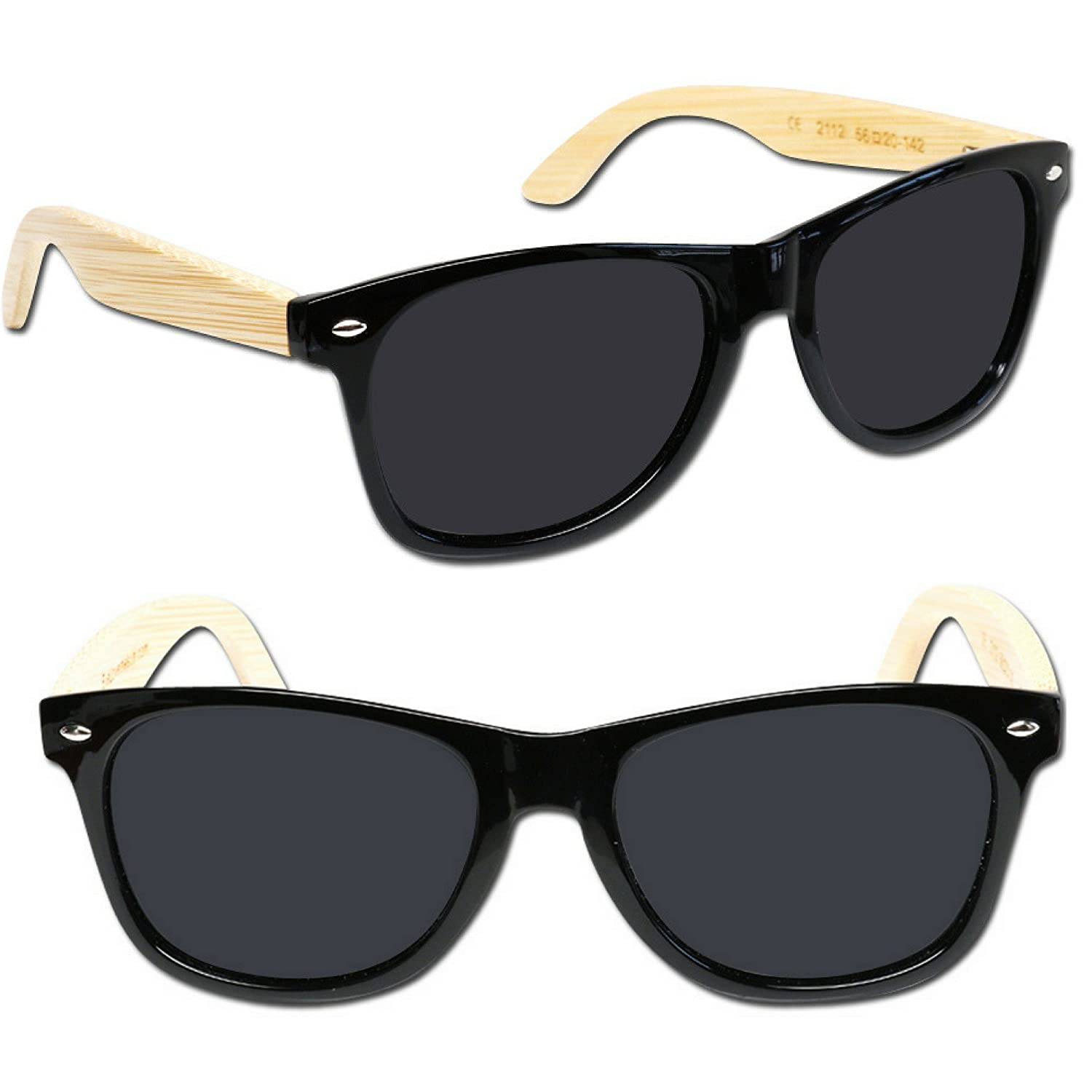 Eye Love - Gafas de sol - para hombre multicolor Shiny Black With Bamboo Temples: Amazon.es: Ropa y accesorios