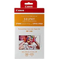 Canon RP-108 Color Ink/Paper Set, Compatible with Selphy CP910/CP820/CP1200/CP1300