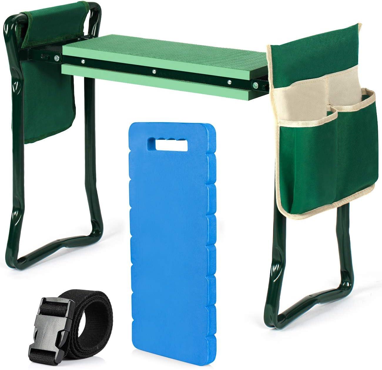 COSYLAND Garden Kneeler and Seat Foldable Soft Gardening Stool with Bonus EVA Kneeling Pad, 2 Pouches and Detachable Belt, Portable Kneeler Workseat for Gardening