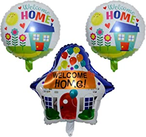 Welcome Home Balloon Decorations - Set Of 3 Party Balloons Featuring A Simple American Home Decor. Great For Welcoming Back Military Members With A Patriotic Red, White, And Blue Celebration