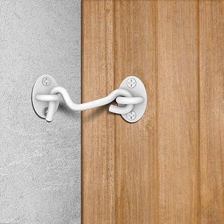 ideal para puertas de granero y vallas de madera Paquete de 4 cerraduras para puerta de granero negro de 10,16 cm negro cierre s/ólido de puerta con 16 tornillos de montaje