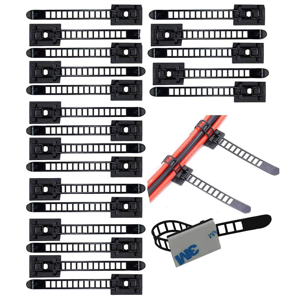 20 Piè ces Embases Adhesive pour Attache de Cable, Support de Serre Câ ble Plastique, Embase pour Collier de Serrage Support de Serre Câble Plastique Forepin