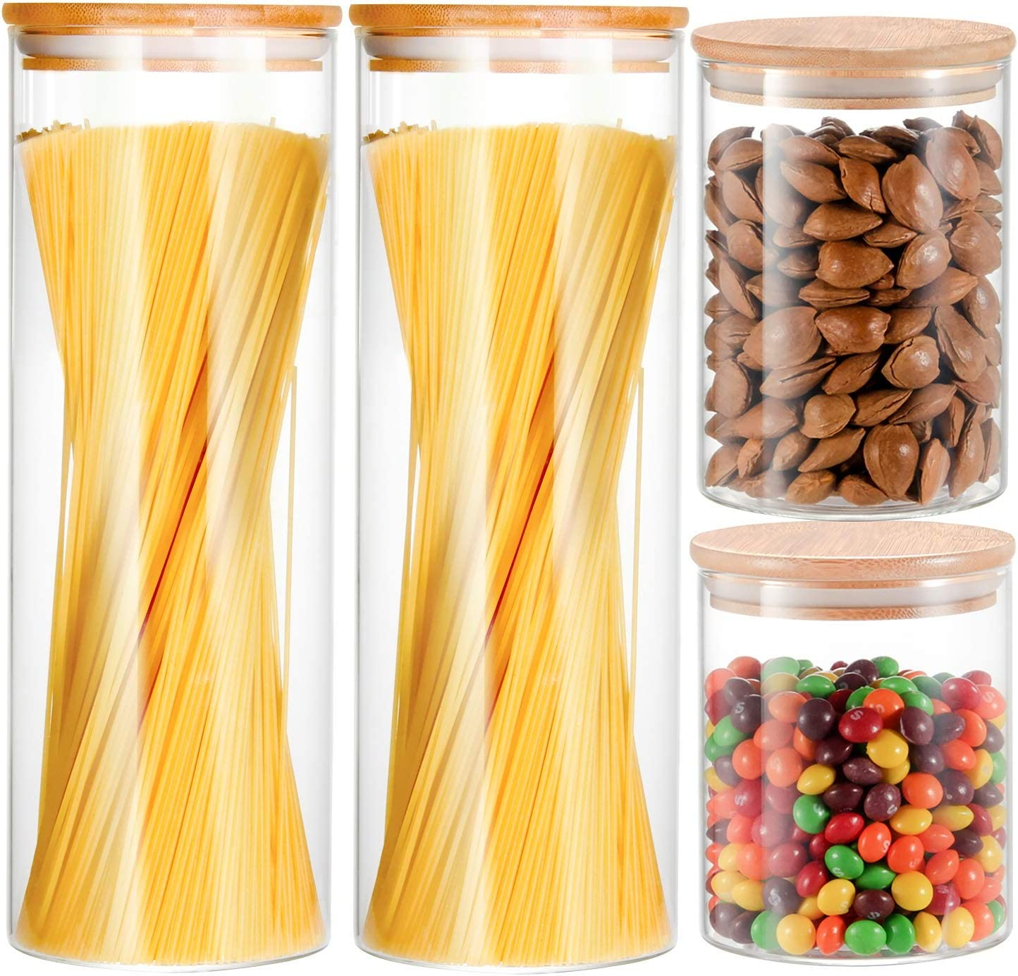 Glass Storage Containers, YULEER Glass Jar with Bamboo Lids, Airtight food Storage Canister for Spaghetti, Candy, Cookie, Cereal, Rice - Set of 4
