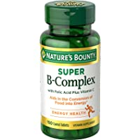 Vitamin B Complex by Nature's Bounty, Super B Complex Vitamins w/Vitamin C for Immune Support & Folic Acid, 150 Tablets