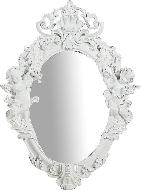 Stile Shabby Chic. da Appendere al Muro Orizzontale Verticale Bagno Cornice Finitura Colore Bianco Anticato Specchio Specchiera Ovale da Parete Shabby Chic Trucco L37xPR6xH49 cm
