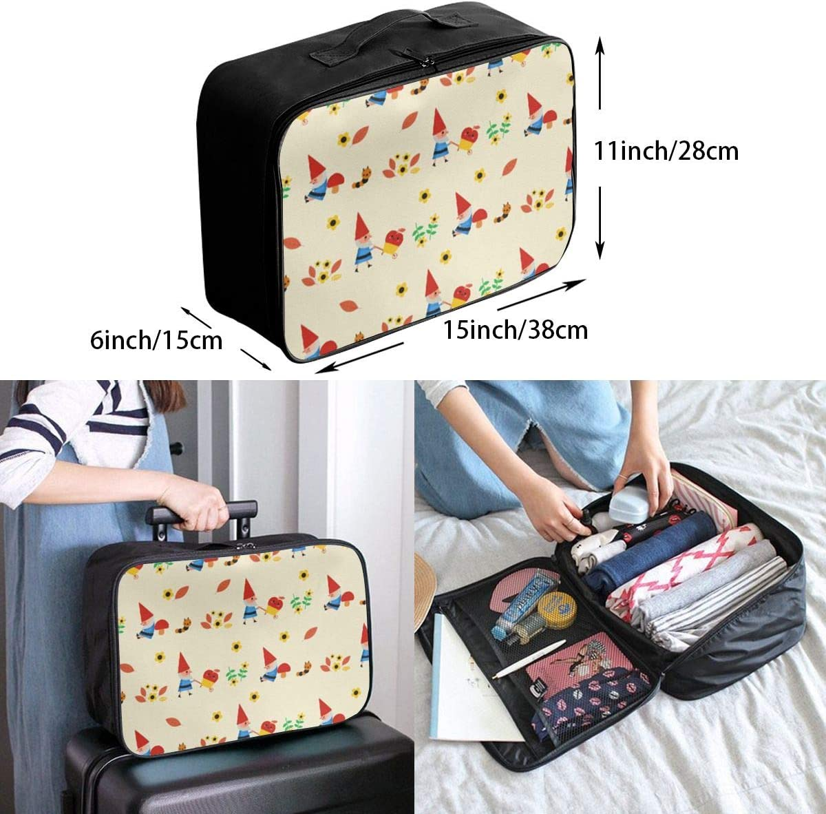 Cute Gnome Pattern Travel Carry-on Luggage Weekender Bag Overnight Tote Flight Duffel In Trolley Handle