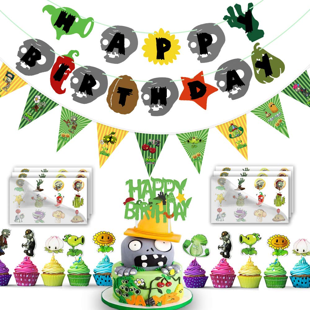 Col-pary Pre-assembly Plant Versus Zombeis Happy Birthday Party Banner, Cake Topper, Cupcake Topper, Triangular Banner and Temporary Tattoos Sticker for PVSZ Party Supplies Decorations, 99Pcs