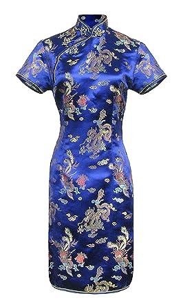 sale retailer 47398 3ec89 Blaues kurzes Chinesisches kleid qipao ärmelkurz von Größe 38 bis 48