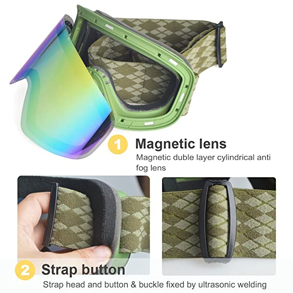 Snowledge Ski Snowboard Goggles Magnet Dual Layers