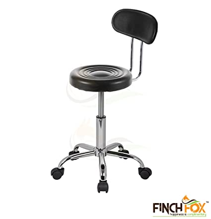 Finch Fox Adjustable Hydraulic Revolving Swivel Doctors PU Leather Stool with Back Metal Chrome Steel Base (Black)
